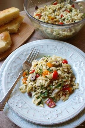 Lite #Lemon #Orzo #Pasta #Salad with #Olives and Tomatoes #Recipe