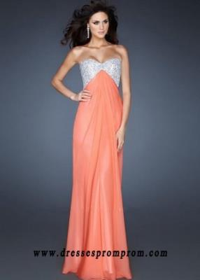 Coral Sparkly Top Strapless Cutout Back Long Prom Dresses