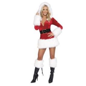 Hot Sexy Santa Plush Mini Dress Adult Women Christmas Costume