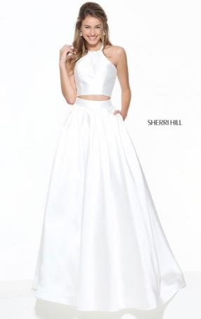 Two Piece Halter Neckline Sherri Hill 50893 Sleeveless Ivory Open Back 2017 Long Satin Evening Gown