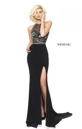 Sherri Hill 50959 Sleeveless Black Multi 2017 Beaded Patterned High Neckline Slit Long Jersey Prom Dresses