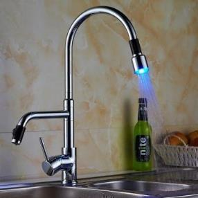 Deck Mounted Chrome Finish Contemporary Single Handle LED Pull-out Kitchen Faucet--Faucetsmall.com