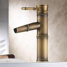 Antique Brass Finish Bathroom Sink Faucet - Bamboo Shape Design--Faucetsmall.com