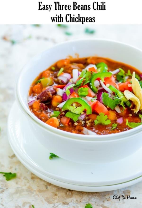 Easy Vegetarian Three Beans Chili with Chickpeas Recipe - ChefDeHome.com