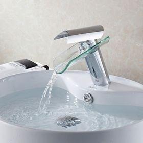 Modern Design Glass Spout Waterfall Bathroom Faucet--Faucetsuperseal.com