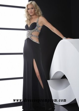 Black Sparkly Sequined Cutout Straps Back Chiffon Evening Gown