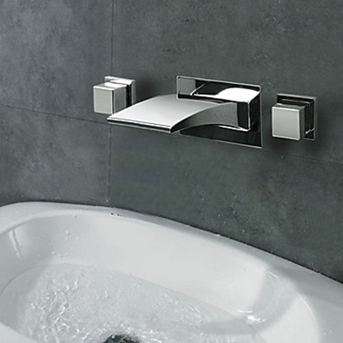 Two Handles LED Waterfall Chrome Wall Mounted Bathroom Sink Faucet--Faucetsdeal.com