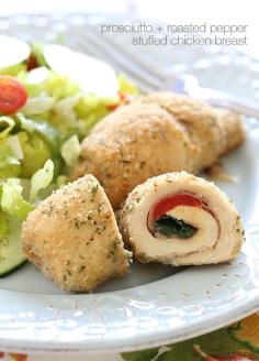 Roasted Red Pepper and Prosciutto Stuffed Chicken Breast