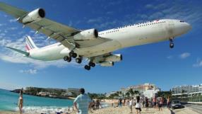 Maho Beach is located in St Maarten, and famous for the Princess Juliana International Airport adjacent to the it. Arriving aircraft must touch down as close as possible to the beginning of Runway 10
