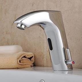 Chrome Finish with Automatic Sensor (Hot and Cold) Bathroom Sink Faucet--Faucetsmall.com
