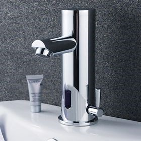 Contemporary Chrome Finish Brass Bathroom Sink Faucet with Automatic Sensor (Hot and Cold)--Faucetsuperseal.com