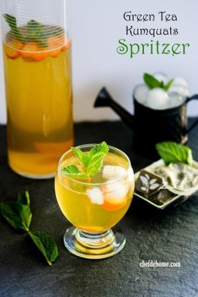 Sweet Green Tea and Kumquats Spritzer Recipe - ChefDeHome.com
