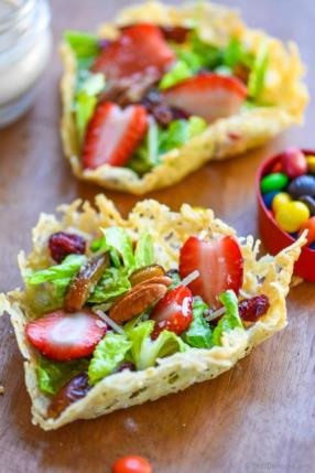 Brunch Salad in Parmesan Heart Cups with Chipotle-Sour Cream Dressing Recipe -ChefDeHome.com