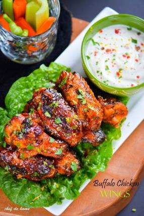 Honey Tangerine Buffalo Chicken Wings with Yogurt Ranch Dip Recipe - ChefDeHome.com