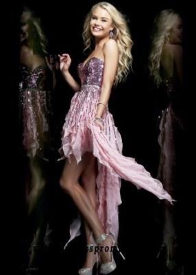 Sequin Strapless Pink Low Front High Back Homecoming Dress