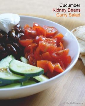 Curry Beans, Carrots and Cucumber Salad is great pack-for-lunch salad. With filling, spicy and flavorful curried beans and crunchy vegetables, this salad is my best option when packing lunch for offic