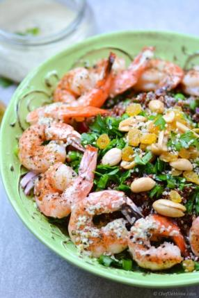 Roasted Shrimp and Quinoa Salad with Ginger-Hemp Dressing Recipe - ChefDeHome.com