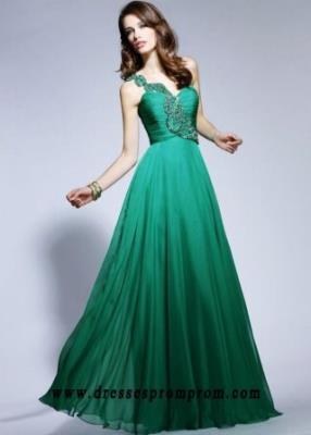 Chiffon One Shoulder With Beaded Long Emerald Prom Dresses