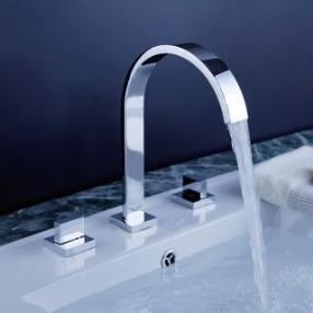 Widespread Contemporary Design Chrome finish Bathroom Sink Faucet--Faucetsmall.com
