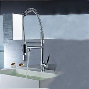 Contemporary Single Handle Chrome Finish Pull-Out Spray LED Kitchen Faucet with 3 Color Changing--Faucetsdeal.com