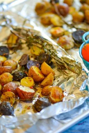 Herb Roasted Potatoes with Sweet-Spicy Mustard Dressing Recipe - ChefDeHome.com