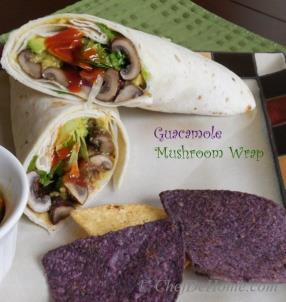 Creamy and Healthy Guaca-Mushroom lunch or breakfast Wrap