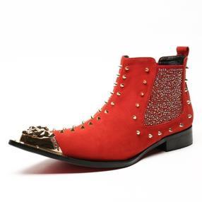 CWMALLS Patent Rivet Dress Boots Red CW707206