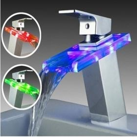 Chrome Single Handle Mount LED Glass Waterfall Bathroom Sink Faucet--Faucetsuperseal.com