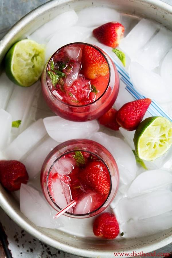 This strawberry and pom mojito is a must try from diethood.com