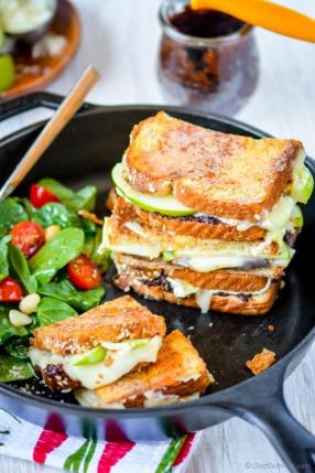Apples and Brie Grilled Cheese Sandwich with Fig Spread Recipe - ChefDeHome.com