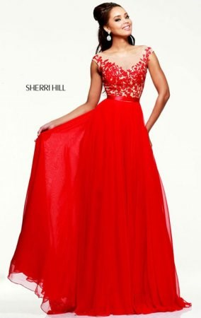 Sherri Hill 11151 V-Back Sweetheart Jeweled Chiffon Red Evening Dress Cheap