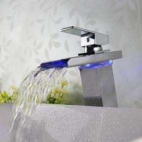 Contemporary Widespread Chrome Finish LED Waterfall Bathroom Sink Faucet--Faucetsmall.com