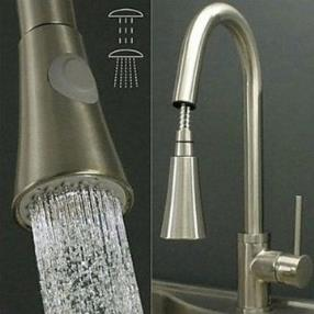 Nickel Brushed Finish Contemporary Single Handle Pull Out Kitchen Faucet--Faucetsmall.com