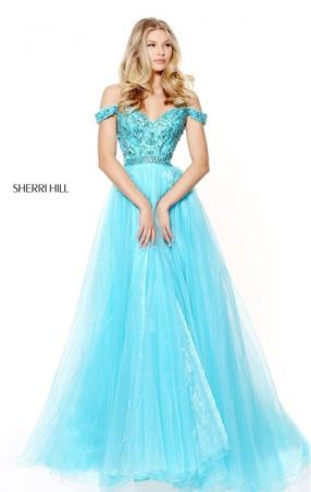 2017 Beaded Patterned Aqua Sweetheart Neckline Pleated Long Tulle Evening Dresses Sherri Hill 50832 Cap Sleeves