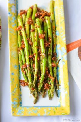 Better Than Green Beans - Vegan Kimchi Garlic Asparagus Recipe - ChefDeHome.com