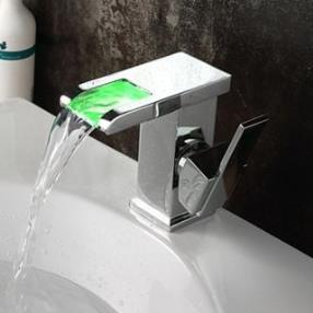 Single Handle LED Waterfall Contemporary Chrome Finish Bathroom Sink Faucet--Faucetsdeal.com