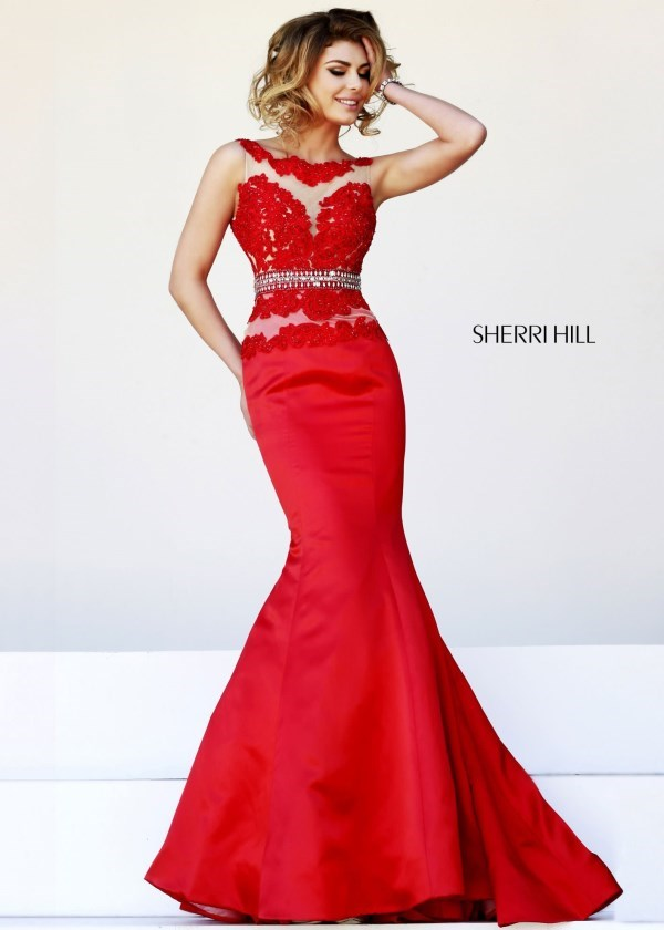 Beaded Discount Sherri Hill 32033 Sexy Red Illusion Mermaid Gown