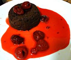 Chocolate lava cake with Raspberry sauce