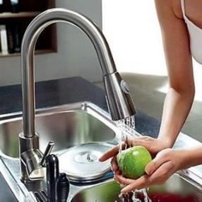 New Brushed Nickel Pull Out Spray Kitchen Faucet With Pull Down Spout Sprayer--Faucetsdeal.com