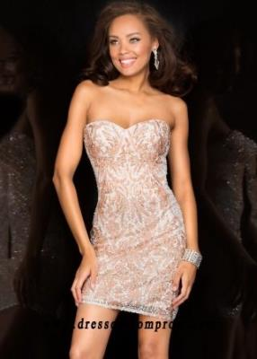 Scala 48560 Sparkling Beaded Strapless Short Perfect Prom Dress Online