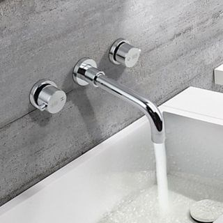 Two Handles Rotatable Contemporary Chrome Brass Wall Mounted Bathroom Sink Faucets--Faucetsdeal.com