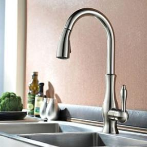 Traditional Nickel Brushed Finish One Hole Single Handle Deck Mounted Rotatable Pullout Spray Kitchen Faucet--Faucetsdeal.com