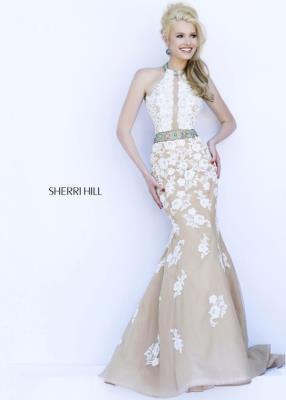 Sherri Hill 32227 Ivory Nude Lace Beaded Evening Dress Cheap