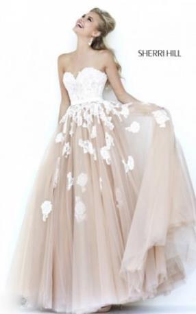 Sherri Hill 11200 Ivory Nude Lace Prom Dress