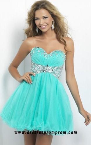 Simple Beaded Waist A-Line Strapless Short Aqua Homecoming Dresses