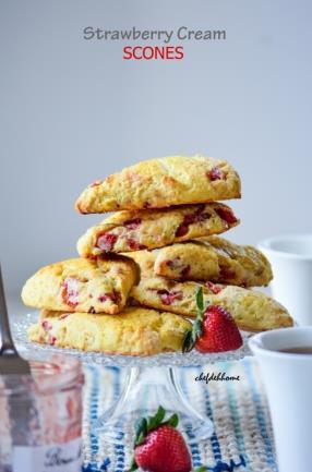 Fresh Strawberry Cream Scones Recipe -ChefDeHome.com
