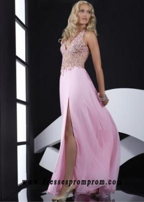 Halter Deep V Neck Pink Backless Long Evening Gown 2016