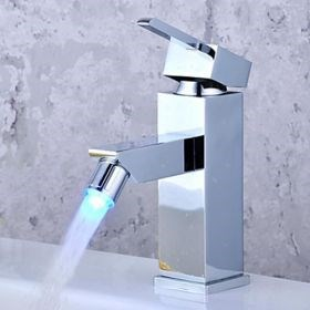 Color Changing LED Bathroom Sink Faucet - Chrome Finish--FaucetSuperDeal.com