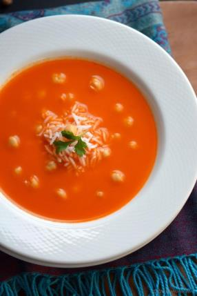 Tomato and Rice Soup with Chickpeas Recipe - ChefDeHome.com