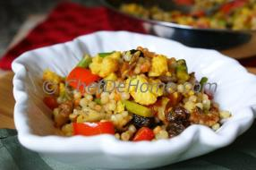 Try this easy-to-follow Israeli Couscous with curry infused vegetables and Herbs recipe from ChefDeHome. Israeli Couscous also known as Ptitim or Pearl.